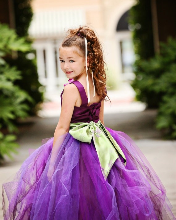 Reserved for hamjr1219---Purple Flower Girl Tutu Dress w Kimono Style Sash----Perfect for Weddings or Portraits-----Afternoon Tea