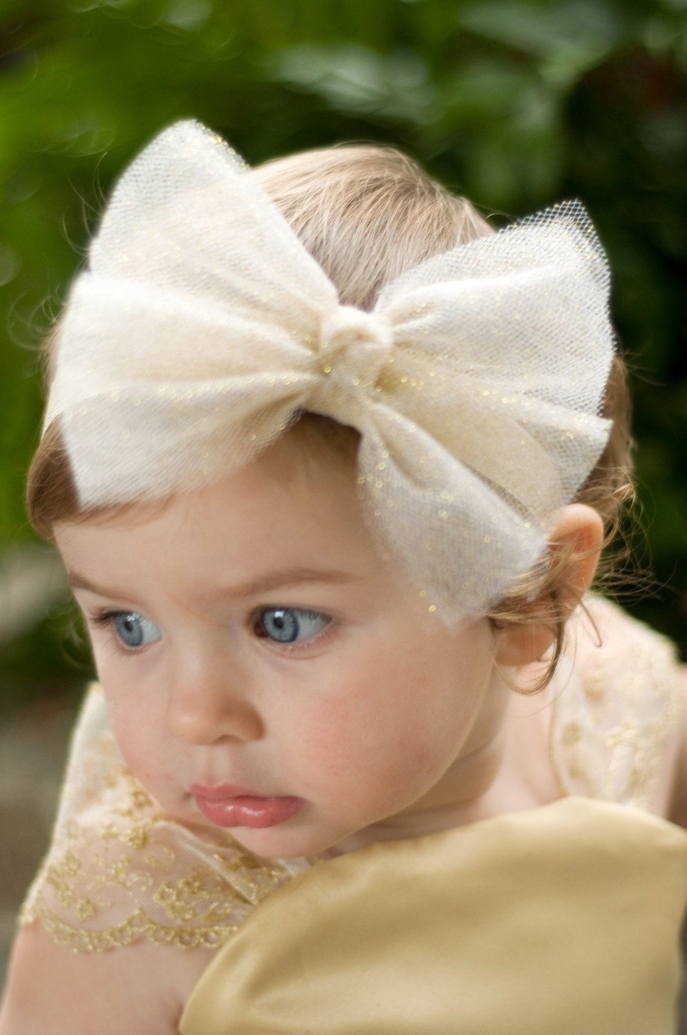 Glittering Tulle Bow Headband Clipavailable