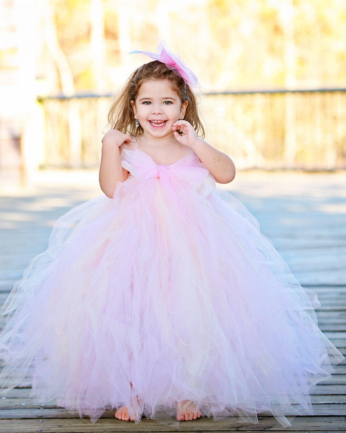 Blush Flower Girl Tutu DressOrganza BowAvailable in Many