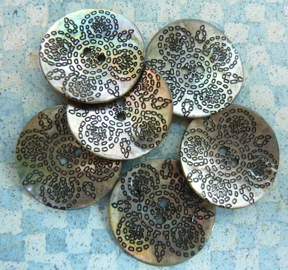 Shell Button with Geometric Pattern
