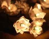 White Origami Magnolia Flower Lights set of 20
