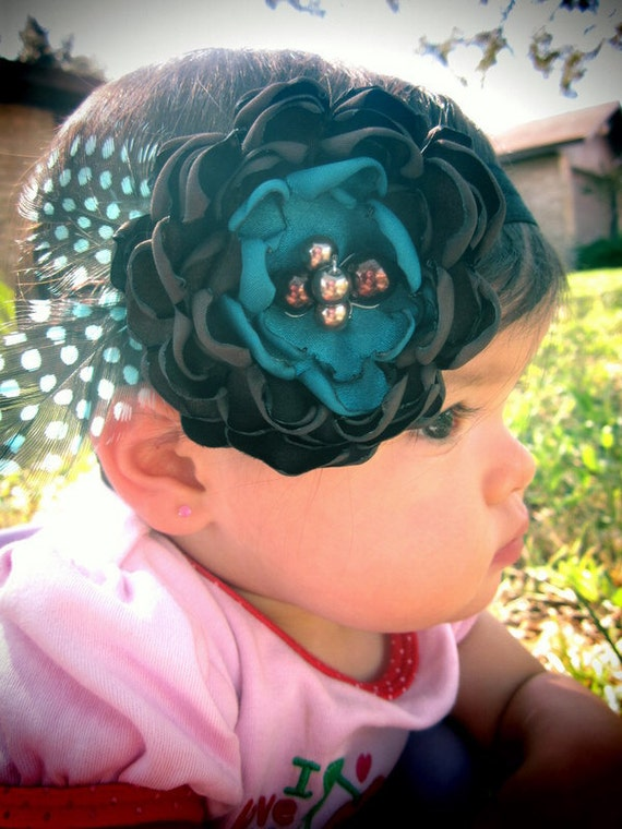 Chocolate brown and peacock blue flower fascinator