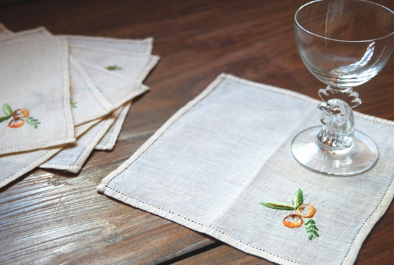 Vintage Linen Cocktail Napkins, Set of 6, Peach / Fruit Design