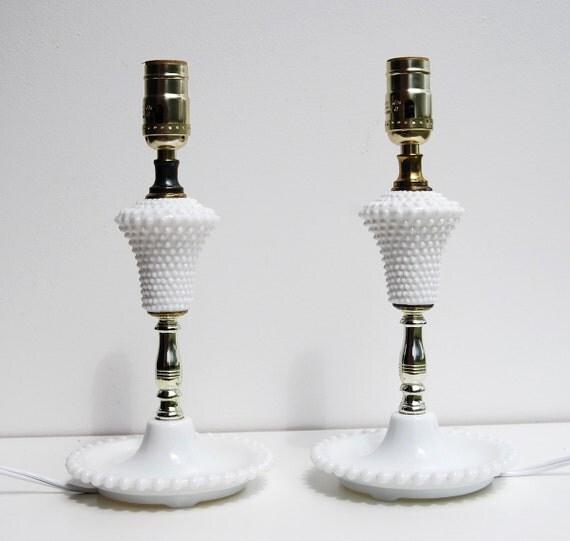 "Vintage Bedroom Lamp Set, White Hobnail Milk Glass Bead, 12"""