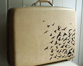 Upcycled Samsonite hardsided suitcase with wheels and handle - flock of birds - CREAM
