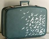 Vintage Upcycled LIGHT BLUE suitcase - WEEKENDER - organizer - display
