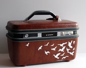 "SALE ITEM Hand Painted Vintage Chocolate Brown Train Case by BlueBernice ""Carry on, luggage, suitcase, weekend bag, makeup case, organizer"""