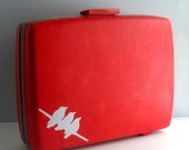 SALE ITEM  Vintage Sexy Red Hand Painted Suitcase by BlueBernice - Hard sided Sears Courier by Samsonite, Unique Luggage, One-of-a-Kind