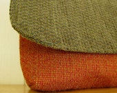 Burnt orange, olive green eco friendly clutch purse, pouch, upcycled, small fabric clutch bag, gift, cosmetic bag