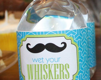 INSTANT DOWNLOAD 2 COLORS included Diy Printable Water Bottle Labels Little Man Birthday Party