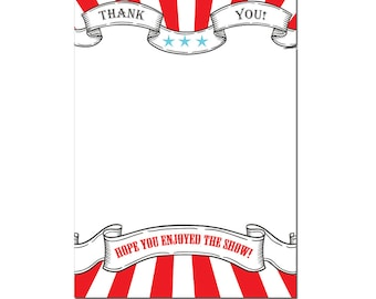 Printable or Emailable Carnival Circus Thank You Note Cards