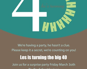 Printable or Emailable 40th Surprise Birthday Party Invitation