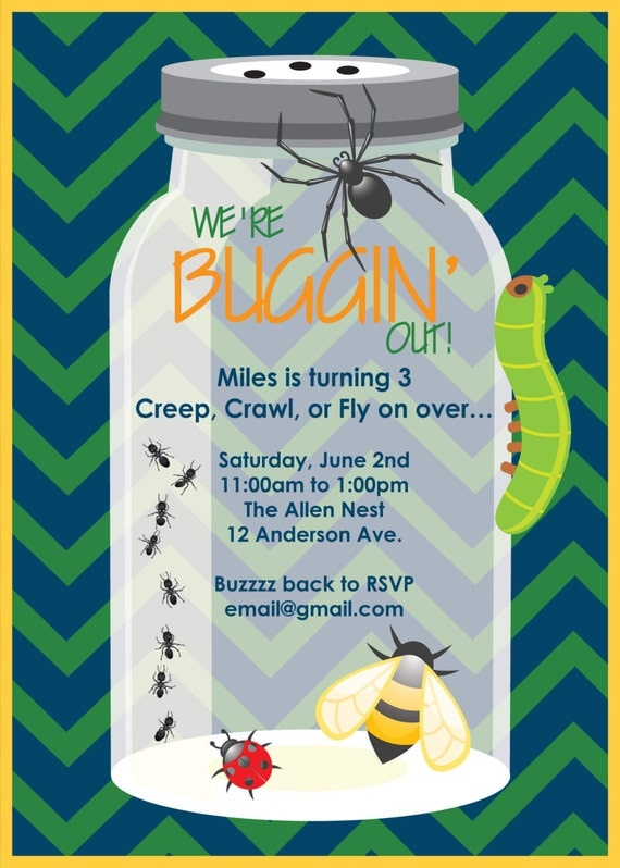 Printable or Emailable Bugs Insect Birthday Party by bugluv