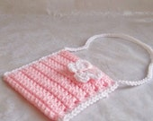 Crochet Girls Purse, Toddler Purse, Crochet Purse with Strap, Butterfly Purse, Pink Purse
