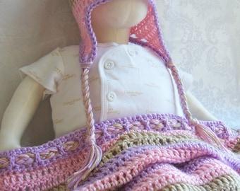 Crochet Baby Blanket, Multicolor Crochet Baby Blanket, Crochet Stripes Baby Blanket