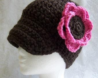 Crochet Hat, Crochet Hat for Girls, Flower Hat, Crochet Flower