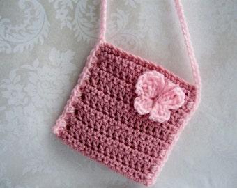 Crochet Girls Purse, Toddler Purse, Crochet Purse with Strap, Butterfly Purse, Pink Purse