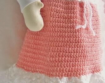 Crochet Skirt, Crochet Skirt for Girls, Peach Skirt, Frilly Skirt