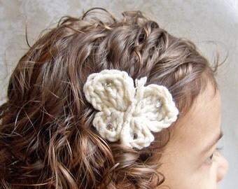 Hair Clip, Butterfly Hair Clip, Crochet Hair Clip