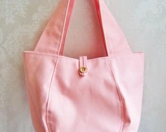 Tote Bag, Canvas Tote, Small Tote Bag, Pink Tote Bag, Pink Purse