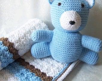 Crochet Baby Blanket, Blanket with Teddy Bear, White Blue Tan Blanket, Baby Shower Gift, Baby Blanket for Boys