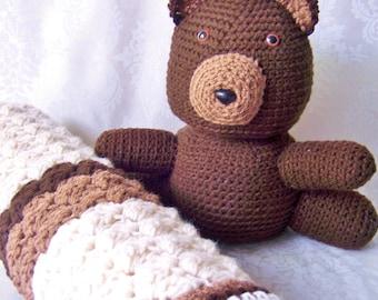 Crochet Baby Blanket, Blanket with Teddy Bear, Chocolate Tan Beige Baby Blanket, Baby Shower Gift, Blanket for Baby Boy