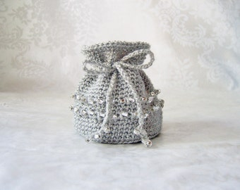 Crochet Coin Purse, Crochet Jewelry Pouch, Crochet Sack with Drawstring