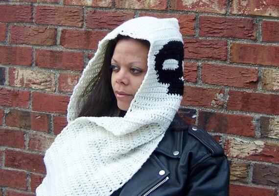 Crochet Hooded Skull Scarf, Hooded Scarf, Crochet Scarf, Skulls