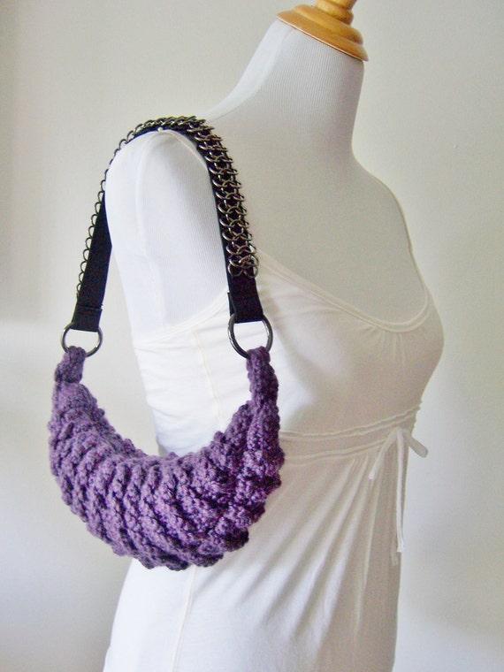 Crochet Purse, OOAK Crochet Handbag, Purple Purse, Purse with Strap, Metallic Strap