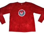 Red Christmas Wreath Shirt Hand Dyed (Ladies Small) Long Sleeved