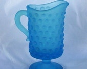 Vintage Kanawha Blue Frosted Glass Hobnail Creamer or Miniature Pitcher