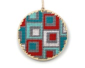 "retro squares needlepoint kit - modern / contemporary - 3"" - turquoise, red and gray"