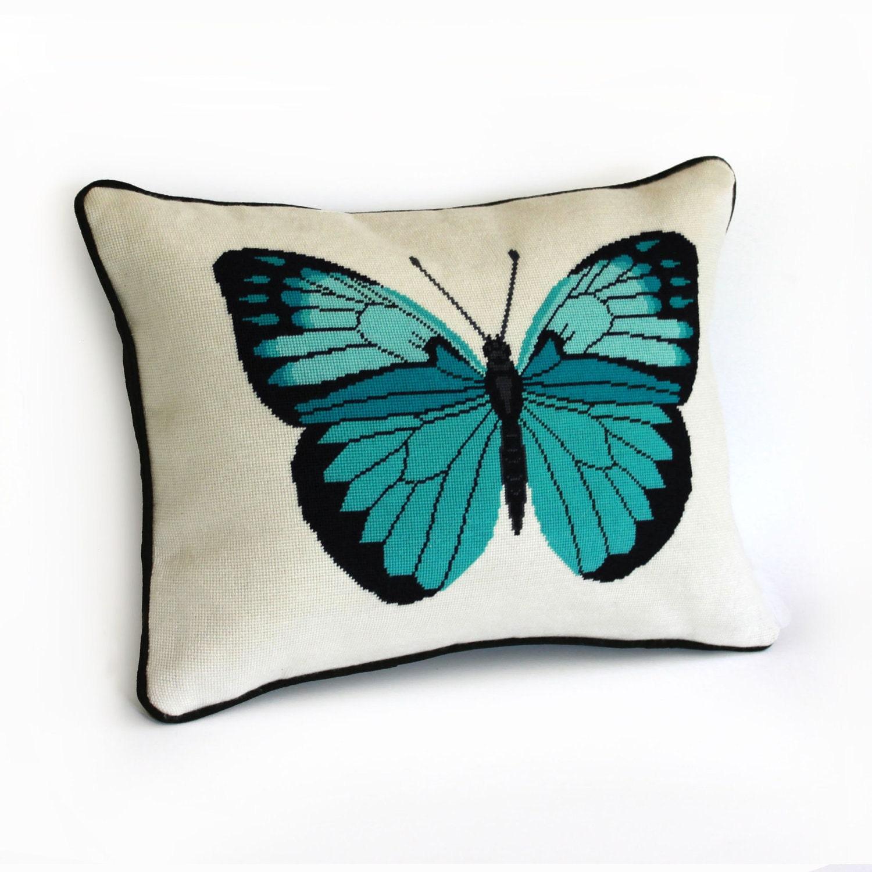 Modern Needlepoint Kits For Pillows : turquoise butterfly modern needlepoint kit by ModernNeedleworks