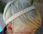 Headband, Cream Braided Rope