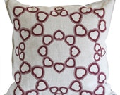 Many hearts linen pillow cover-burgundy