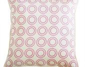 optical circles linen pillow cover pink