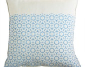 mosaic star linen pillow cover blue