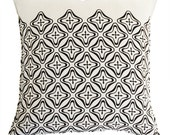 retro star linen pillow case black
