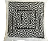 optical squares linen pillow cover black
