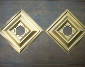 Pair of 1950s/1960s Schlage Bronze Square Escutcheons