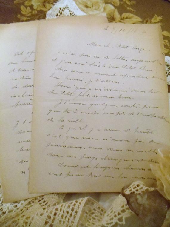 Handwritten French Script Love Letters Ivory Cream Vintage