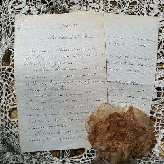 French Love Letters Handwritten Script Vintage By