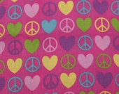 Cotton Fabric, 1 Yard, Peace and Love Symbols, Hot Pink, Quilting, Quilt, Pillow, Wallhanging, Heart, Gift