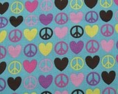 Cotton Fabric, 1 Yard, Peace and Love Symbols, Blue, Quilting, Quilt, Pillow, Wallhanging, Heart, Gift
