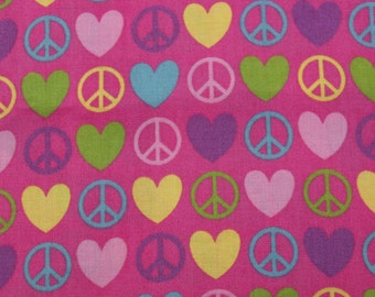 Cotton Fabric, 1/4 Yard, Peace and Love Symbols, Hot Pink, Quilting, Quilt, Pillow, Wallhanging, Heart, Gift