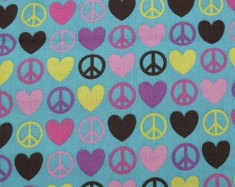 Cotton Fabric, 1/4 Yard, Peace and Love Symbols, Blue, Quilting, Quilt, Pillow, Wallhanging, Heart, Gift