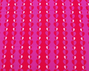 Cotton Fabric, 1/4 Yard, Hearts and Stripes, Red, Pink, Purple, Quilting, Quilt, Pillow, Wallhanging, Sewing, Crafts, Gift, Love, Heart