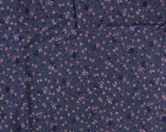 Calico Cotton Fabric, 1/4 Yard, Vintage 1980s, Purple, Peach, Fushia Flowers, Quilt, Pillow, Home Decor, Christmas Gift, Yards Available