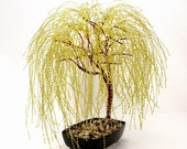 Golden Weeping Willow Beaded Bonsai Tree - Glass and Wire Tree Sculpture -  t0147 - RosewindStudio