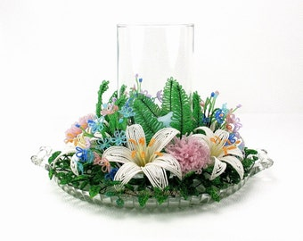 Lily Beaded Flower Candle Ring - French Beaded Flowers - Wire and Glass Table Centerpiece - Home Decor - f0140d